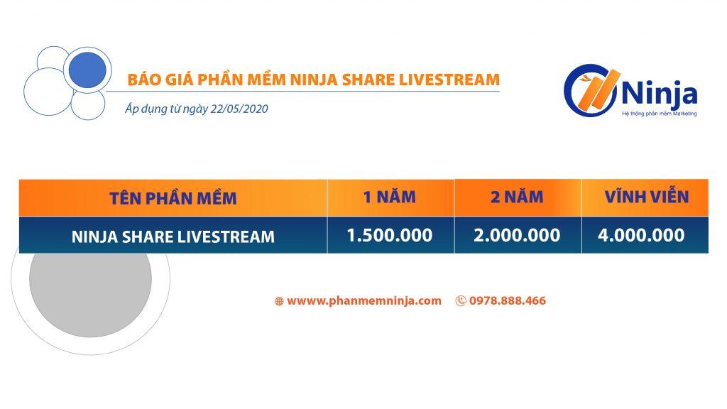 báo giá phần mềm ninja share livestream