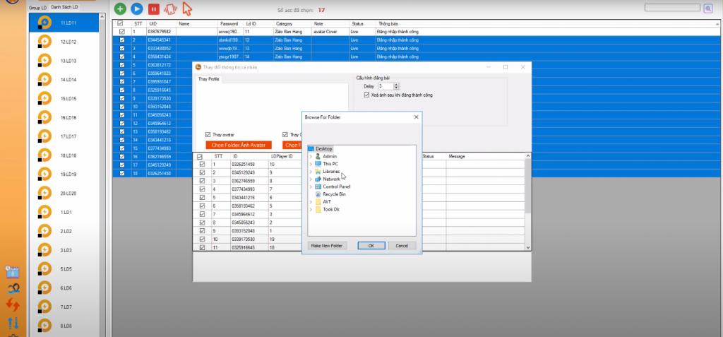 Tự động thay đổi thông tin cá nhân trên phần mềm nuôi nick zalo
