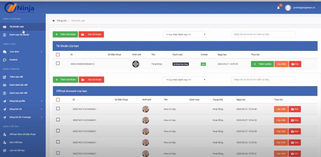 Dễ dàng quản lí nhiều tài khoản zalo trên phần mềm Ninja Zalo