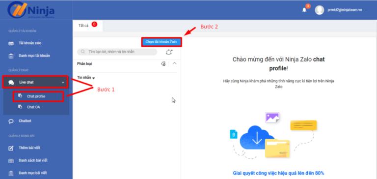 Quản lí livechat trên phần mềm Ninja Zalo