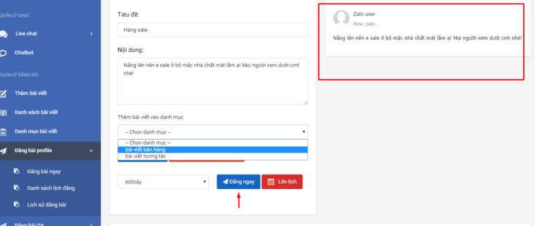 Tự động đăng bài trên phần mềm quản lí bán hàng zalo